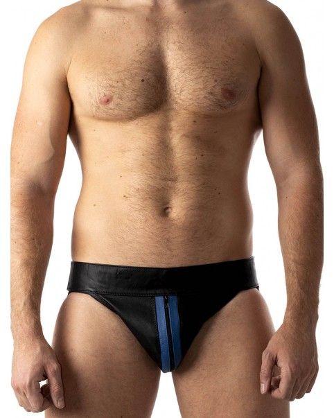 Jockstrap zippé bandes bleues cuir