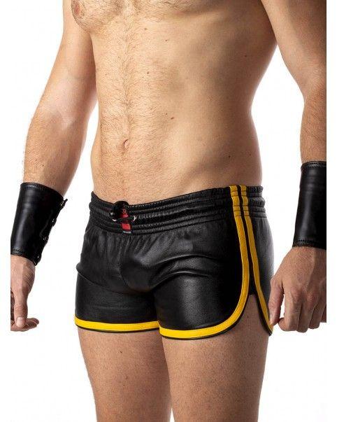 Short cuir - bandes jaunes