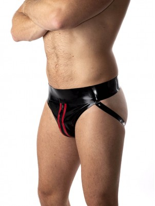Jockstrap Zip rouge/noir Latex