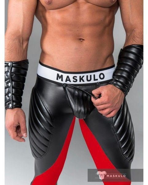 Leggings poche amovible zip arrière rouge/noir Spandex
