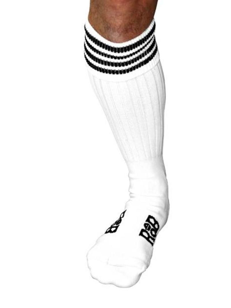 Chaussettes Sport, blanches, bandes noires