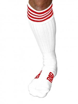 Chaussettes Sport, blanches, bandes Rouges