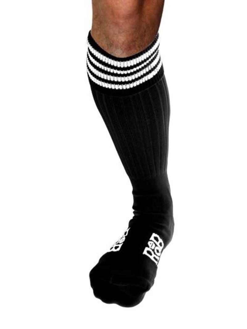 Chaussettes Sport, noires, bandes blanches