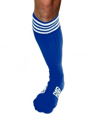 Chaussettes, Sport, Bleues, bandes blanches