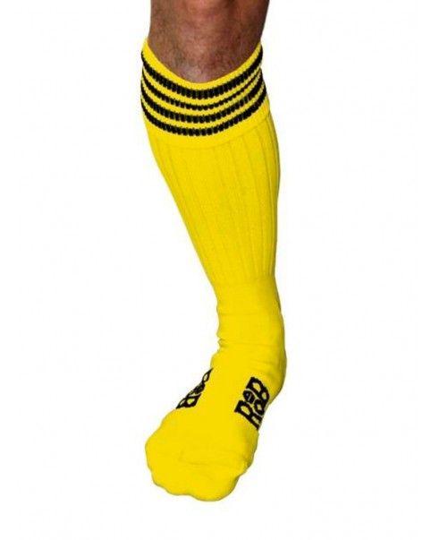 Chaussettes Sport jaunes, bandes noires