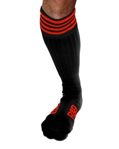 Chaussettes Sneaker noires bandes oranges