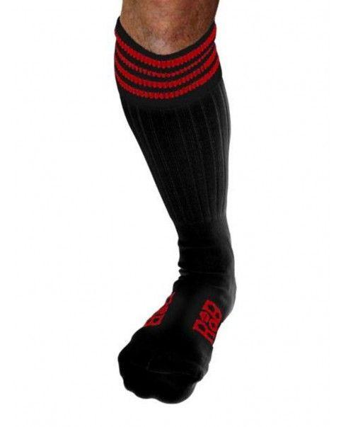 Chaussettes Sneaker noires bandes rouges