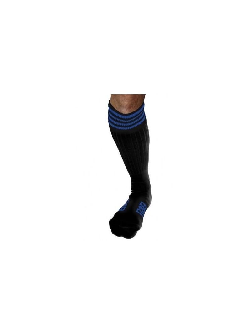 Chaussettes Sneaker noires bandes bleues