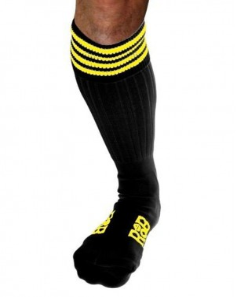 Chaussettes Sneaker noires bandes jaunes