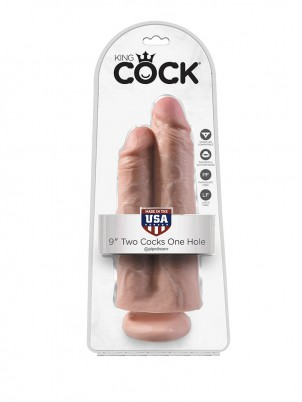 Gode ventouse double King Cock  25,4 cm X 9,4 cm