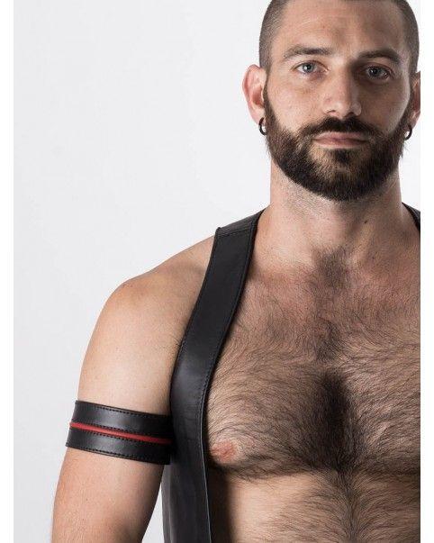 Brassard biceps en cuir liseré de couleur