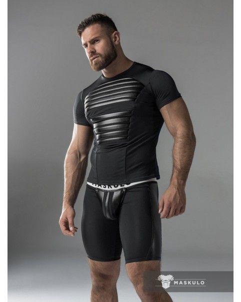 T-shirt noir extensible en Spandex Maskulo